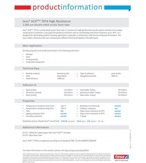 TESA ACX+ 7074 1000µM paper liner  L.3mtr x B.19mm Zwart (Per stuk)