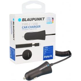 Blaupunkt Typ-C/USB laadkabel met USB-Typ-C Spiraalkabel, 2,4A, zwart