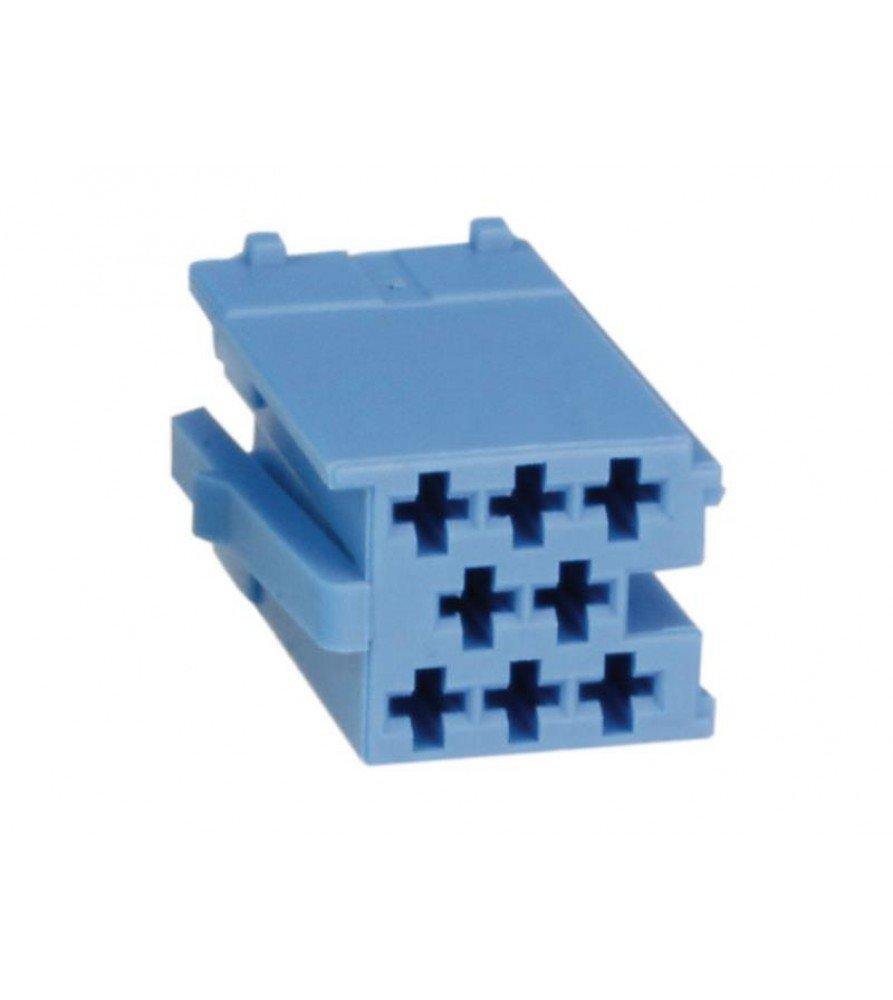 Mini ISO plug 8-Pin male Blauw