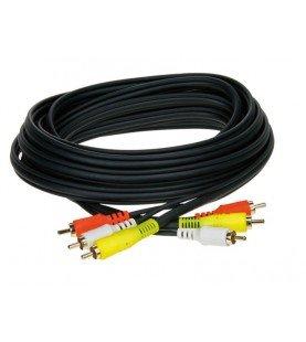 A/V Kabel 5 mtr. 3 plugs rood - wit - geel